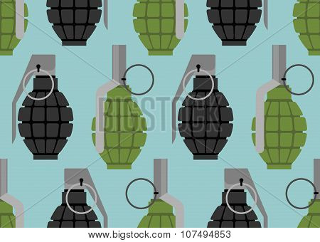 Hand Grenade Seamless Pattern. Military Munition Texture. Accessory War.
