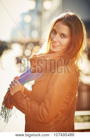 Contre-jour Outdoor Portrait Of Beautiful Redhead Young Woman