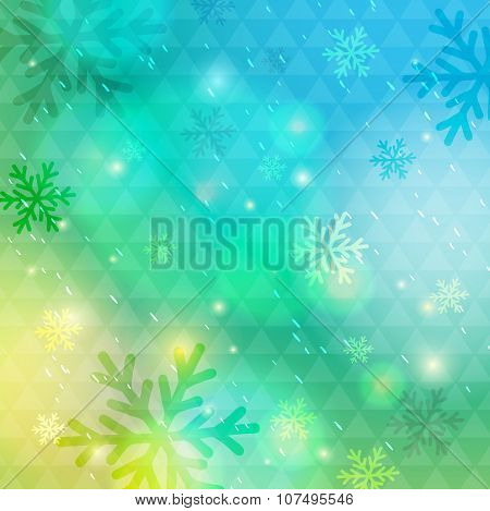Bright Green Background With Bokeh And Snowflakes, Vector
