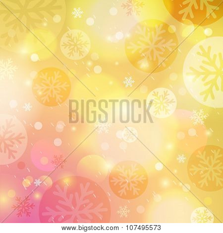 Bright Yellow Background With Bokeh And Snowflakes, Vector