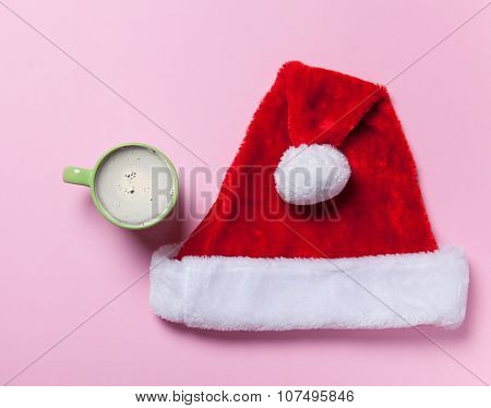 Cup Of Coffee And Santa Claus Hat