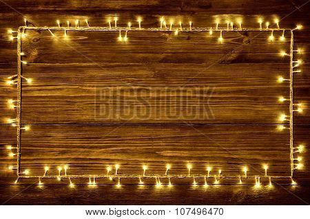 Garland Lights On Wood Background, Holiday Wooden Frame, Dark Brown Rustic Planks