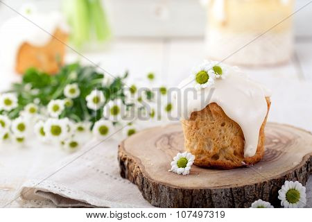 Small Easter cake, kulich Traditional Russian cake.