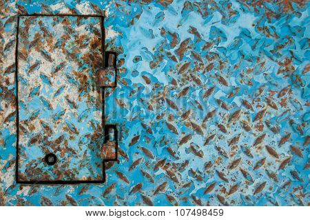 Blue Painted Metal Background