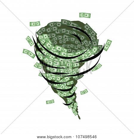 Money Tornado. Whirlwind Of Dollars. Hurricane Cash. Destructive Funnel Wind Picks Up And Blows Mone