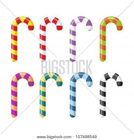 Set Christmas Sweets. Multicolored Striped Peppermint Candy. Minty Holiday Candies.