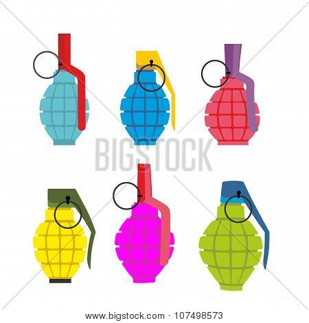Set Colored Hand Grenades. Fun Colorful Military Ammunition. Army Shells.