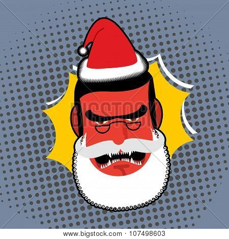 Evil Angry Santa Claus. Red With Anger Person Swears And Shouts. Villain With White Beard And Glasse