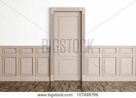 Interior With Classic Beige Door 3D Render