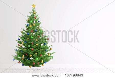 Interior With Christmas Tree 3D Rendering