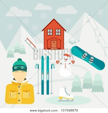 Winter Holidays. Winter Sport. Ski Resort.  Icons In The Flat Design. Vector