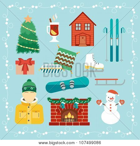 Christmas Holidays Icons. Winter Holidays. Christmas And Winter Attributes. Icons In The Flat Design