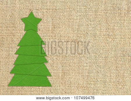 Cristmas Tree Cloth Cutting Design Card Over Burlap