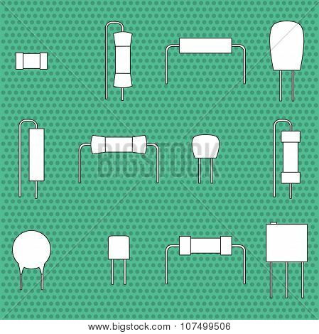 electronic components icons set resistors. Vector