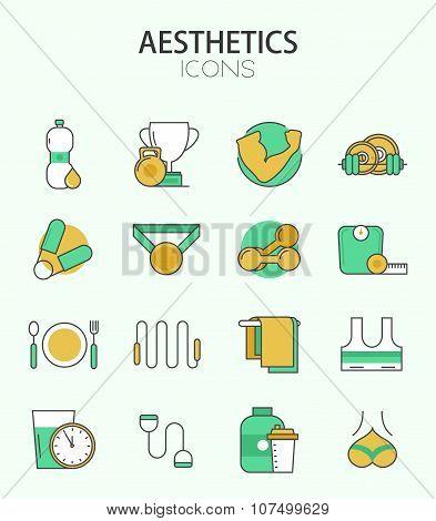 Vector modern thin line flat design of icons set