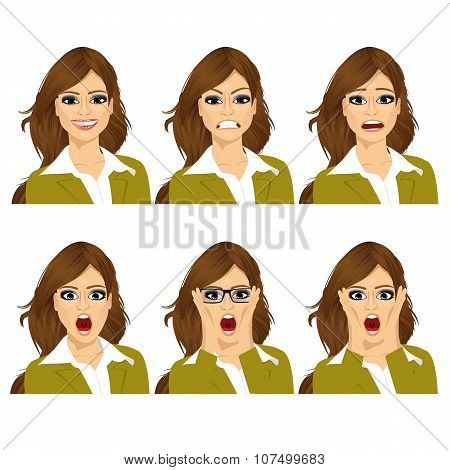 woman on six different face expressions set