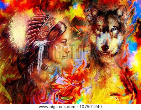 young indian woman wearing  with  wolf and feather headdress and abstract color background.
