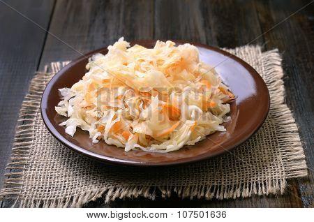 Sauerkraut On Ceramic Plate
