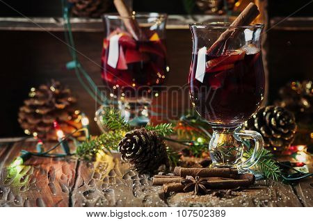 Traditional Winter Mulled Wine And Christmas Ornament