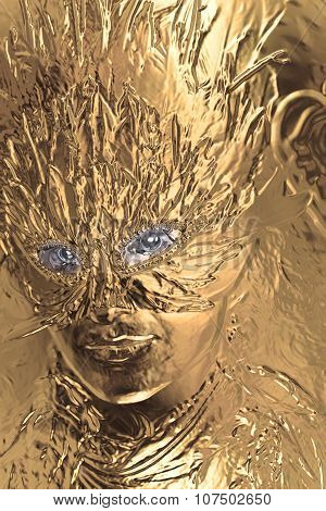 Young woman with feather carnival face mask. Woman coated in metallic gold paint.