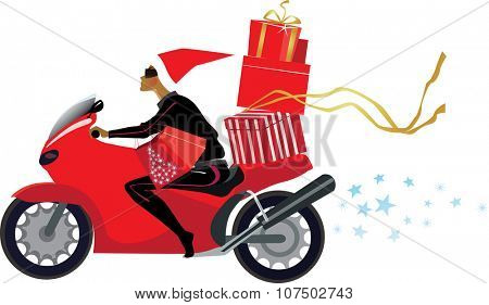 girl with christmas presents on a motorcycle