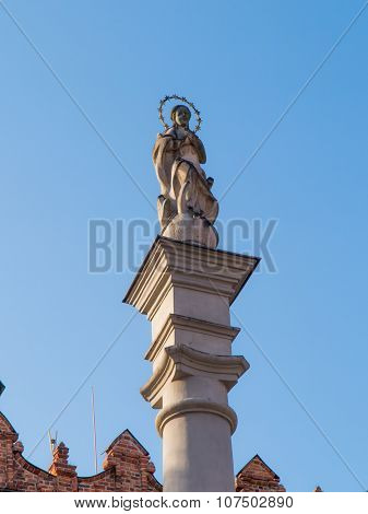 Statue Of Virgin Mary On The Market In Sandomierz