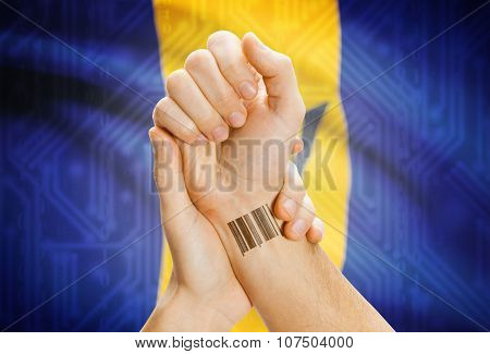 Barcode Id Number On Wrist And National Flag On Background - Barbados