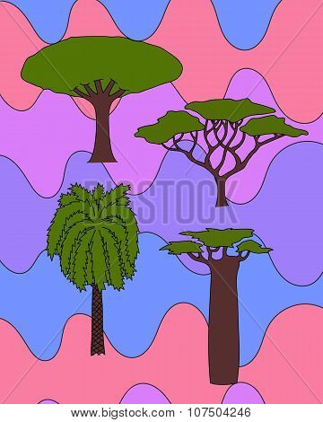 african trees set