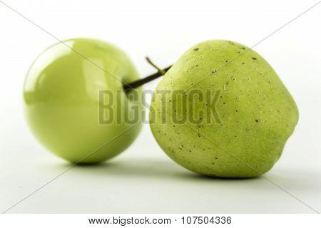 Natural And Ceramic Apples