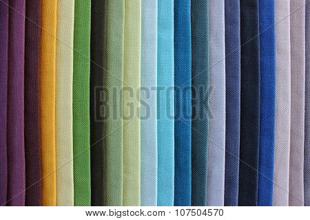 Coloured Pieces Of Cloth, Aligned In A Rainbow Pattern