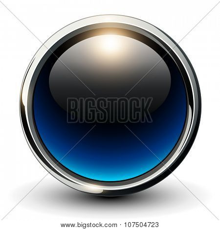 Blue shiny button with metallic elements, 3D glossy vector design