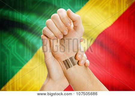 Barcode Id Number On Wrist And National Flag On Background - Congo-brazzaville
