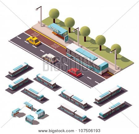 Set of the isometric buses and bus stops