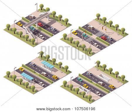 Set of the isometric crosswalk types