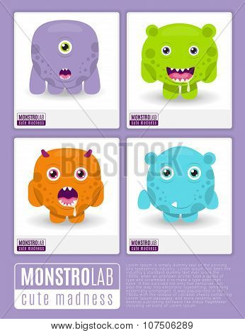 Monstrolab. Cute Madness. Vector set of cartoon cute monsters