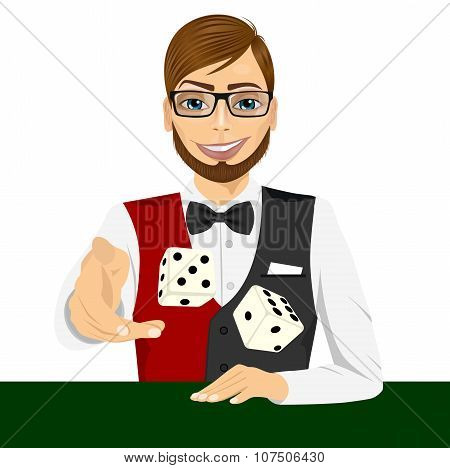 man throwing the dice gambling playing craps