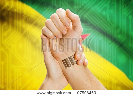 Barcode Id Number On Wrist And National Flag On Background - French Guiana