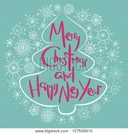 Cute xmas greeting card with fir tree