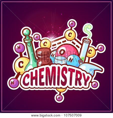 Chemistry Title With Chemical Elements And Flasks On A Dark Background