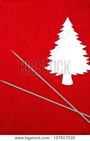 Paper Fir Tree And Knitting Needles