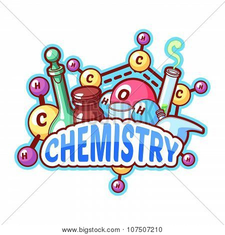 Chemistry Title With Chemical Elements And Flasks On A White Background