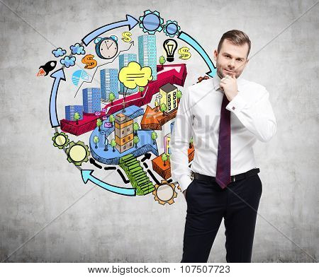 A Businessman Is Thinking About Development Of Business City Project. A Colourful Sketch About City