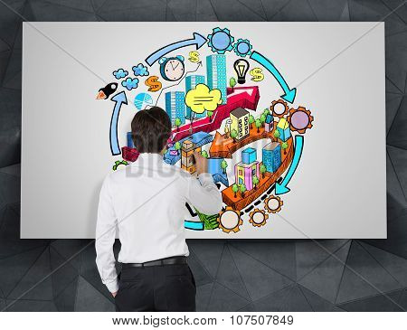A Rear View Of A Businessman Who Is Drawing A Colourful City Development Flowchart On The Concrete W