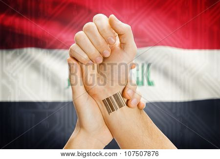 Barcode Id Number On Wrist And National Flag On Background - Iraq