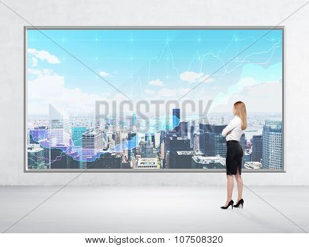 Rear View Of Business Lady Who Is Looking At New York Panoramic Poster With Forex Chart. A Wall And