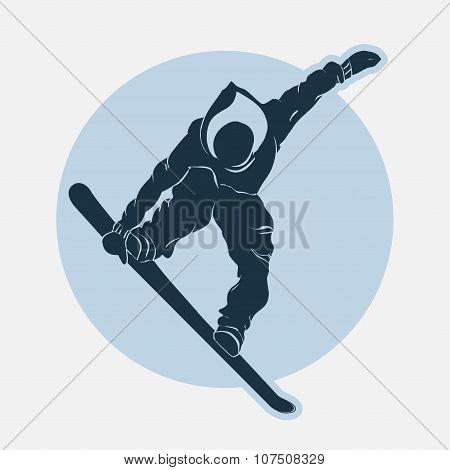 Snowboarding sport emblem