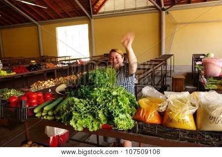 Female vegetable vendor in Batumi, Georgia