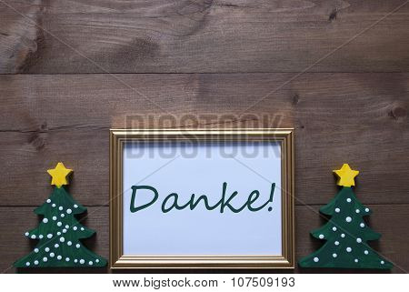 Frame With Christmas Tree And Danke Means Thank You