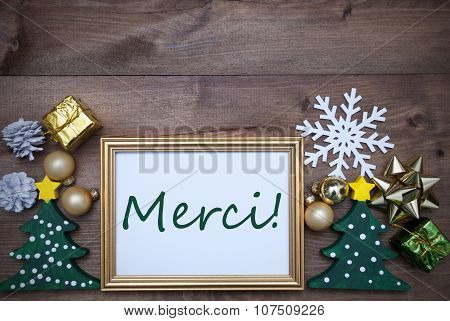Frame With Christmas Decoration, Merci Mean Thank You