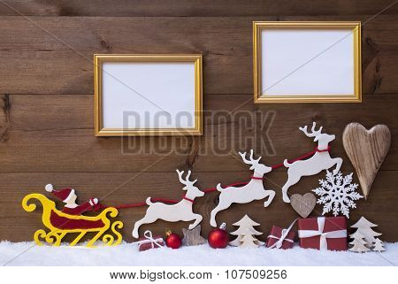 Santa Claus Sled, Reindeer, Snow, Christmas Decoration, Frames